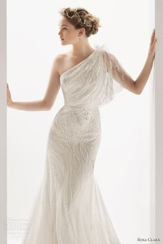 These are the dresses that I had daydreamed about but could never find... If I would do it all over again. ;) Ucrania beaded one-shoulder gown; Soft by Rosa Clará 2014 wedding gowns