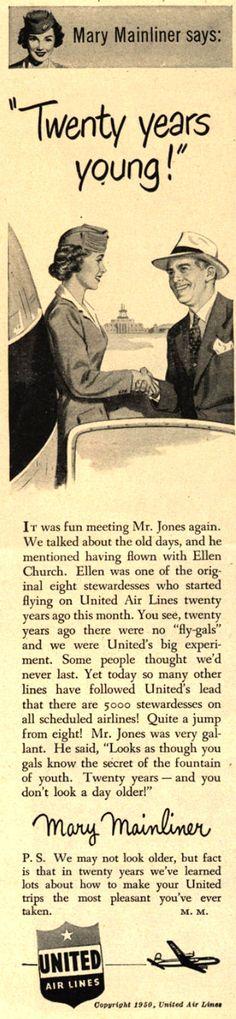 Vintage United Air Lines Ad - 1950