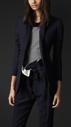 Burberry Prorsum Boyfriend Fit Silk Linen Jacket