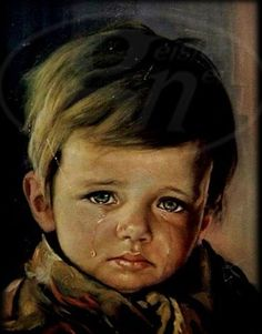 I have been searching for this print!  I remember it hanging in the jewelry store when I was a little girl...Bruno Amadio's - Crying Boy.