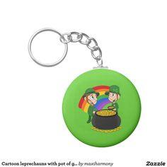 Cartoon leprechauns with pot of gold basic round button keychain