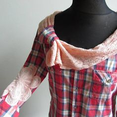 Red plaid lace shirt. #upcycled clothing, #repurposed tops, shirt makeover. Perfect for the country western chic wardrobe by Garage Couture #plaid #fashion #sustainable
