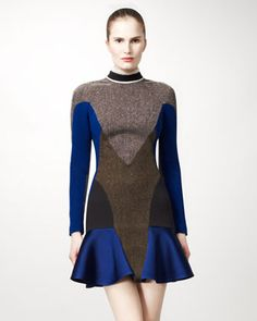 Mixed-Fabric Colorblock Dress by Stella McCartney at Neiman Marcus.