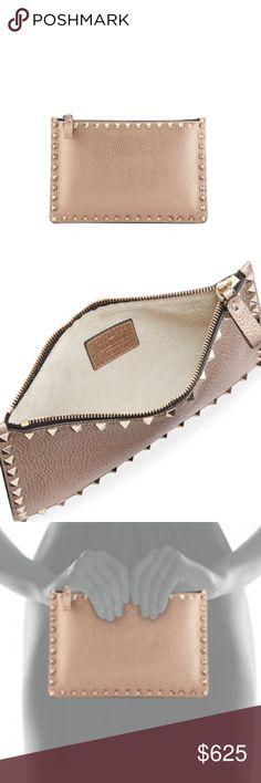 """Valentino Rockstud Small Zip Pouch * Valentino Garavani pebbled leather pouch. * Signature Rockstud trim. * Zip top closure. * 6.5""""H x 9.5""""W. * Made in Italy. Valentino Bags Cosmetic Bags & Cases"""