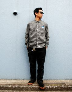 [TOPS] SD PS T/C Work Shirt PRICE : ¥14,000(+Tax) [BOTTOMS] Dickies 私物 [SHOES] CONS 私物