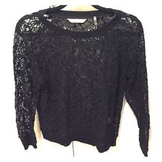 Rebecca Taylor Long Sleeve Lace Top Large Only worn once- in perfect condition!!  Rebecca Taylor long sleeve lace top in black with cotton crew neck, bottom hem and end of sleeves. Size large. Rebecca Taylor Tops Tees - Long Sleeve