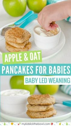 The perfect pancakes for baby - made with apple and oat - Mom Junction - The perfect pancakes for baby - made with apple and oat Baby pancakes made with apple and oat, perfect for baby led weaning, wheat free, egg free, refined sugar free - Baby First Foods, Baby Finger Foods, Fingerfood Baby, Baby Pancakes, Banana Pancakes, Baby Muffins, Oatmeal Pancakes, Healthy Baby Food, Healthy Toddler Meals