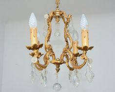 Vintage French Brass Chandelier Bird Cage Louis XV by FRBrocante, €220.00