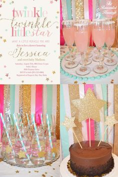 Glittery Twinkle Twinkle Little Star baby shower party! See more party ideas at CatchMyParty.com!