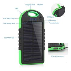 Black Waterproof Solar Charger 5000mAh Solar Power Bank Dual USB Port Portable Charger,Solar Battery Charger For mobile phone | #PortablePhoneCharger