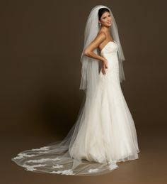 "Toni Federici Chapel length 3 tiered veil with Chantilly lace and fine pencil trim.  ""Nightingale"""