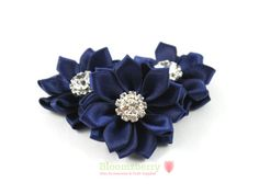"3 or 6 pcs 1.5"" Mini Satin Ribbon Flowers - Navy Color - Navy Blue Satin Flowers - Navy Blue Ribbon Flowers - Hair Accessories Supplies on Etsy, £2.20"