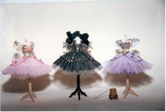 Miniature historical and ballet costumes