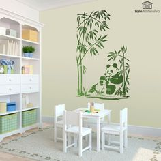 Wall sticker Panda bears and bamboo canes. Design to give a natural and oriental touch to our wall. Some panda bears rest in a bamboo forest. Wall Stickers Panda, Wall Stickers Animals, Decoration Stickers, Bamboo Wall, Interior Exterior, Wall Paintings, Natural, Home Decor, Bamboo Plants