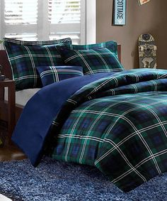 Take a look at this Blue & Green Plaid Brynn Comforter Set by JLA Home on #zulily today!