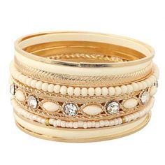 Beaded Rhinestone Layered Bracelets