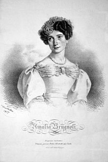 """Amalia Brugnoli Samengo born Milan- daughter of a dancing couple. 1813 attended La Scala . Under director Louis Henry,prima ballerina at the Teatro Sant 'Agostino in Genoa . European guest artist 1823-28, by 1831 she was a member of the Vienna Hofopernballetts. 1823 w Armand Vestris as partner in the ballet """"The Fairy and the Knight"""" in which she was the first dancer on pointe. After returning to Italy Carlo Blasis was her partner."""