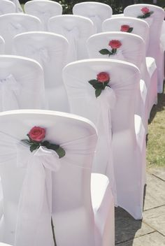 Tuck a single rose into the backs of chair covers for a pretty wedding idea… Wedding Chair Sashes, Wedding Chair Decorations, Wedding Chairs, Floral Wedding, Wedding Flowers, Farm Wedding, Wedding Ideas, Art Deco Cake, Fall Wedding Arches