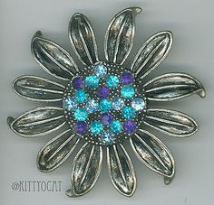Japanned-Blue-Rhinestone-Sunflower-Brooch-Pin