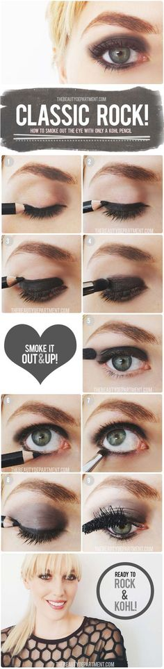 Step by Step Smokey Eye Tutorials - Classic Rock - Step by Step Tutorials on How to Apply Different Eyeshadows for Smokey Eyes - Awesome Looks for Brown, Black, and Blue Eyes, Natural Looks, and Looks for All Types of Lashes - thegoddess.com/step-by-step-smokey-eye