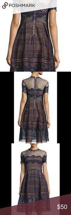 Few Moda Navy Mesh Crochet Romona Dress Medium Navy crochet style dress with mesh collar and waist design. Size medium. Fits best for sizes 4-6. Worn once in excellent condition. Few Moda Dresses Midi