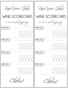 wine tasting score cards - Google Search