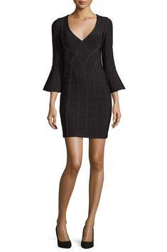 9338b74c2123 Herve Leger Black Signature Long Sleeves Bandage Dresses Bell Sleeve Dress