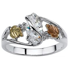 Ultimate Gold over Silver Marquise-cut Cubic Zirconia Vine Ring | Overstock™ Shopping - Big Discounts on Palm Beach Jewelry Cubic Zirconia Rings