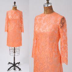 1960's Coral Lace Dress  Tangerine Sherbet by missfarfalla on Etsy