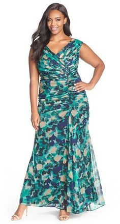 Gorgeous dress for a beach wedding!   Adrianna Papell Print Sleeveless Draped Tulle Gown