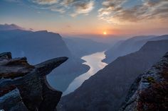 Sunset Trolltunga (Troll's tongue) Norway Hardanger New Route Trekking wilderness wildlife mountain adventure Bergen, Places To Travel, Places To See, Norway Vacation, Adventure Company, Lillehammer, Hiking Tours, Fjord, Day Trips