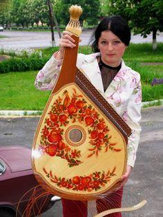 Bandura with petrakivka ornament by N Turchyn, Ukraine, from Iryna with love
