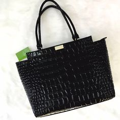 Kate Spade NWT Croc Embossed Black Ridgley Ave The perfect elbow bag! Shiny but not showy, a ladies bag! Trapeze silhouette, large size. No flaws! kate spade Bags
