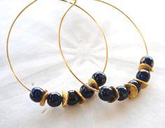 Navy Gold Hoop Earrings by laurenamosdesigns on Etsy, $18.00