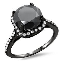 Noori 18k Black Gold 2 1/4ct TDW Black/ White Diamond Halo Engagement Ring (F-G, SI1-SI2) (Size 7.5), Women's