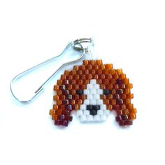 Seed Bead Beagle Zipper Pull Beaded Lanyard Charm by BeadCrumbs, $4.00