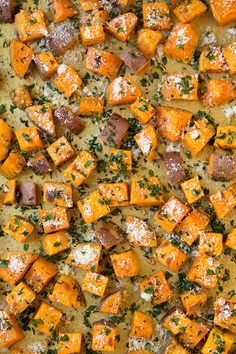 Garlic-Herb Roasted Sweet Potatoes with Parmesan - Cooking Classy