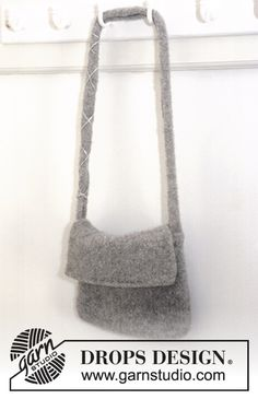 """DROPS Extra 0-9 - Felted DROPS bag in """"Alaska"""" - Free pattern by DROPS Design"""