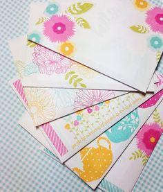 Colorful stamped envelopes