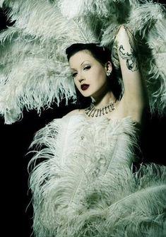 1930s Cabaret Burlesque Feathered Fan White Elegant Ladies Fluffy Accessories