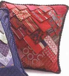 necktie pillow .. recycle old neck ties! flea finds: 1. 35 vintage silk neckties other materials: 1. needle / thread 2. scissors 3....