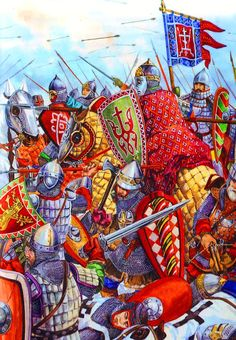 Russian knights and swordsmen in battle, Baltic Crusade Medieval Knight, Medieval Armor, European History, Ancient History, Friedrich Ii, Empire Romain, Templer, Chivalry, Knights Templar