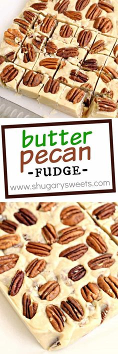 For Jim - Sweet Butter Pecan Fudge just like you would get on a vacation. Creamy, buttery flavor that melts in your mouth and finishes with the crunch of pecans! Fudge Recipes, Candy Recipes, Sweet Recipes, Dessert Recipes, Cuban Recipes, Holiday Baking, Christmas Baking, Christmas Candy, Christmas Treats