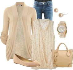 jeans; pale pink floral shirt; pale pink cardigan with matching watch, earrings, purse & flats
