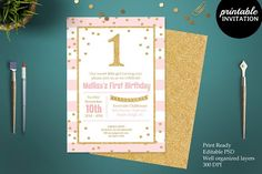 Pink and Gold Glitter 1st Birthday  by Incredible Greeting Cards on @creativemarket