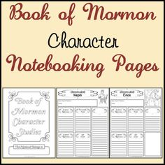 LDS Notebooking: Free Book of Mormon Character Study Notebooking Pages    #MormonLink.com