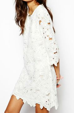 lace cutwork dress