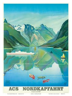 HAPAG Cruise Line: Nordkapfahrt - North Cape and Norwegian Fjords, c.1957 Art Print