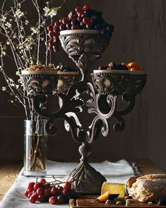 Dining table accessories. Feast: Grapes of Dionysus -  Victorian Gothic decor.