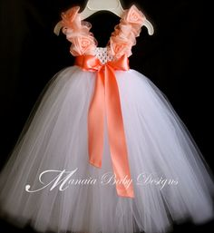 Coral Tutu Dress / Flower Girl Dress / Coral by ManaiaBabyDesigns, $38.00